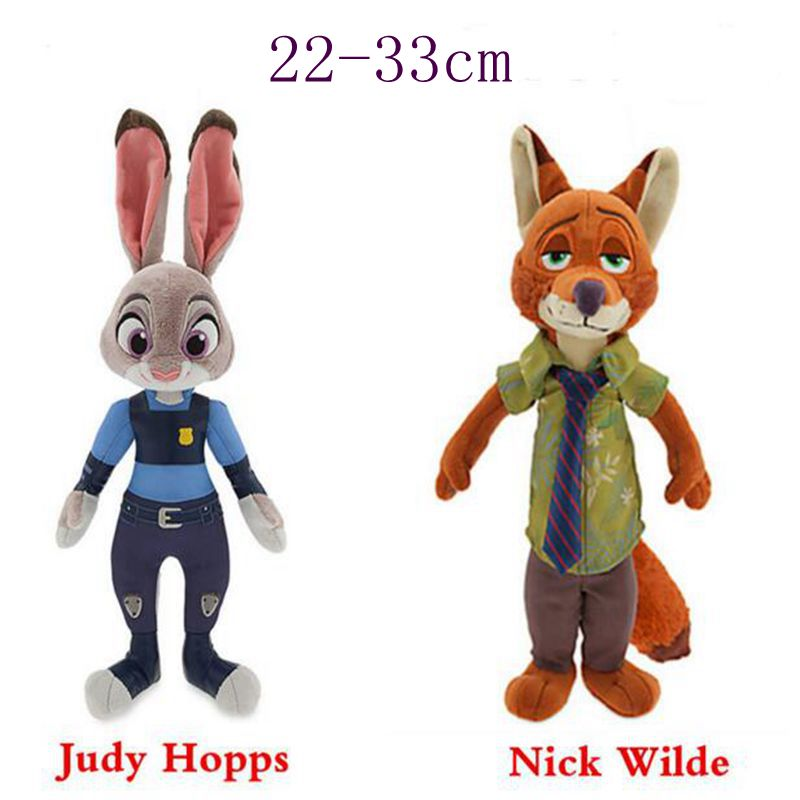 Cartoon Movie Zootopia Plush Toys Rabbit Judy Hopps Nick wilde 22-33CM Zootopia Stuffed Plush doll kids toys(China (Mainland))