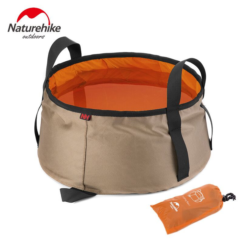 NatureHike 10L Ultralight Outdoor Nylon Folding Water Washbasin Portable Wash Bag Foot Bath Camping Equipment Travel
