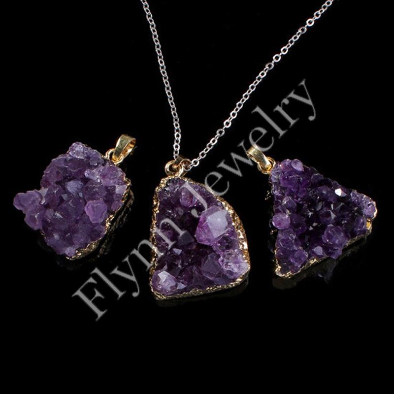 Amethyst Geode Druzy Natural Gem Stone Gold Plated Different Reiki Pendulum Pendant Charms Healing Chakra Fashion Jewelry 5x/lot