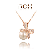 ROXI Brand Pearl Jewelry Big Pearl Pendant Necklace Bowknot Necklace Gold/Silver Chain Royal Necklace Women Fashion,2030002315(China (Mainland))