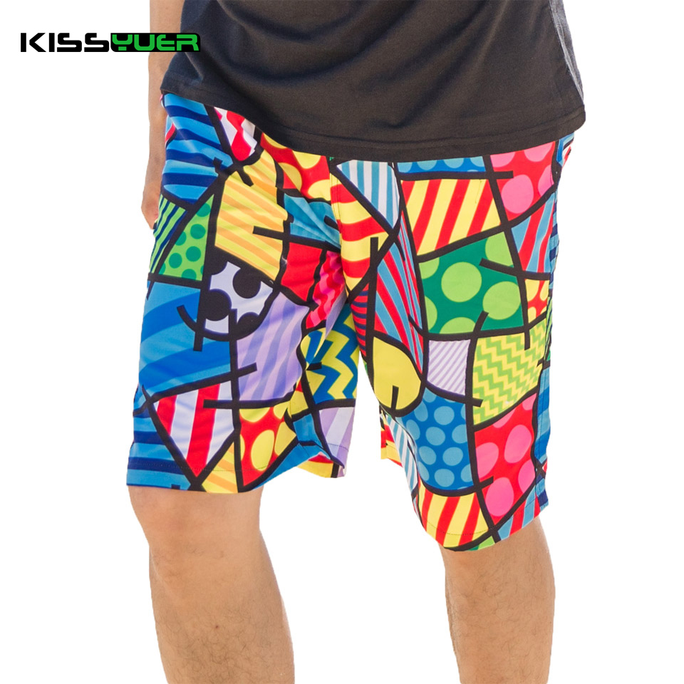 KISSyuer Quick dry Plaid Abstract checkered water lake surface Dot printed Mens swim shorts beachwear Men beach shorts KBS1105(China (Mainland))