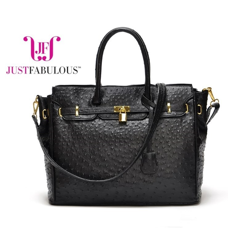 [Free shipping] Autumn and winter really lock ostrich pattern handbag Mobile Messenger bag 1000g(China (Mainland))