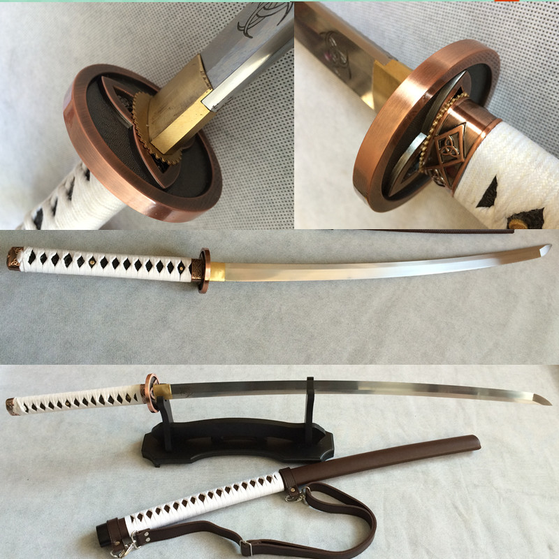 katana 1095 carbon steel sword for samurai full tang razor sharp 100% handmade can cut paper walking dead sword(China (Mainland))