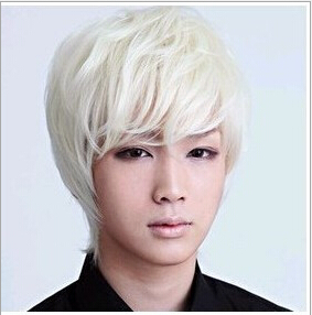 Fashion handsome short men s wigs hair white cosplay wigs party club wearing full wigs cap