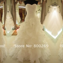 SL-7070 Hot Sale Real Picture Organza Bridal Gown Sweetheart Ruffles Wedding Dress 2015(China (Mainland))