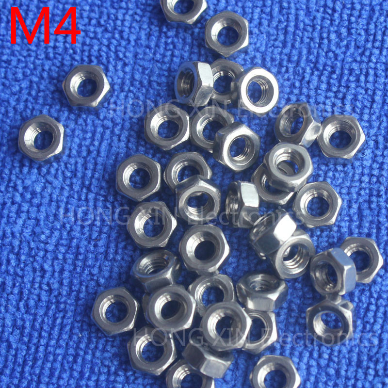 M4 1pcs 304 stainless steel hex nuts 4mm Silvery hexagon nut A2-70 nuts against rusting  No rust durable General accessories