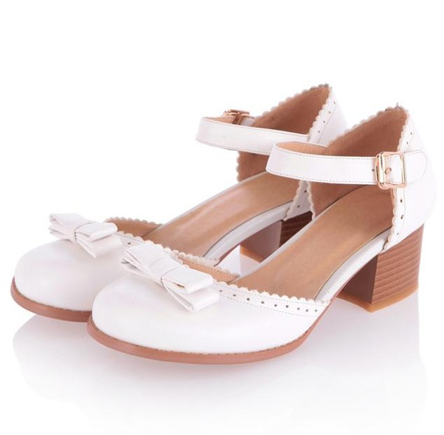 2015 Spring Thick Heel Women Wedding Shoes Fashion Bow Mary Jane Pumps Office Heels Plus Size 34-43