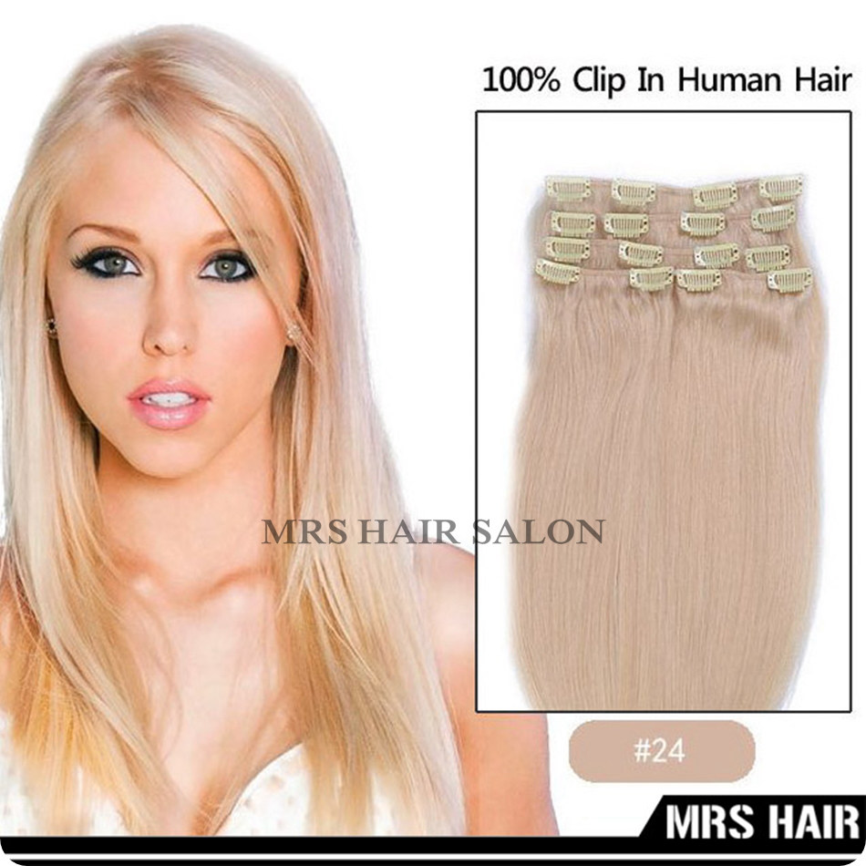 24# Brazilian Remy Clip In Hair Extensions Very Supple Use Real Human Rmy Hair 115g/7pc/set Full Head Set 9 Colors Available<br>