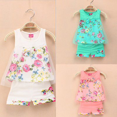 2015 Summer Baby Kids Girls Printed Flower Bow Sleeveless Lace Childrens Suit Clothes(China (Mainland))
