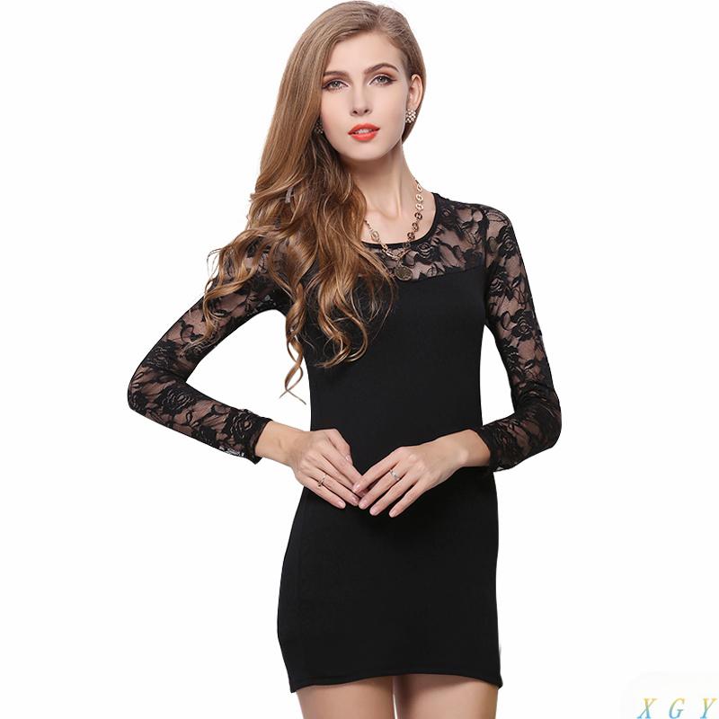 Women Lace Dress Fashion Sexy Evening Mini Dress Slim O-neck Long Sleeve Clothing Tight Hip Plus Size Black White CC2869(China (Mainland))