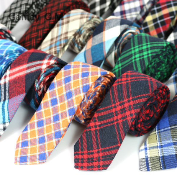 Newest Plaid 100% Cotton Ties for Men 5.5 width Skinny Neckties High Quality Adult Slim Neck Tie Free Shipping(China (Mainland))