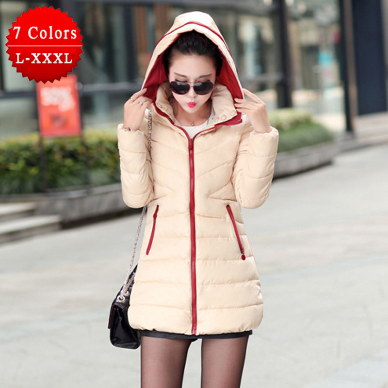 Plus Size Slim Women Coat Cotton-padded Autumn Winter Jacket 2015 Medium-long Down Parka Female Jacket Casual Hooded Ladies Coat