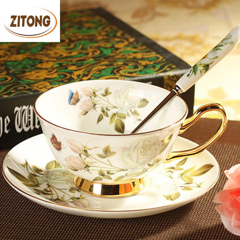 European Style 2015 Black Tea Ceramic Coffee Cup Set Advanced Porcelain Drinkware For Coffee Mugs - Flower Of White Rose(China (Mainland))