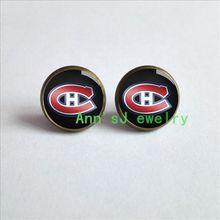 ES-00475 Montreal-ear stud Canadiens-NHL-pierced earrings Hockey-earring-sport-team-logo-charms-post-hockey-fans-team-gift-cheap(China (Mainland))