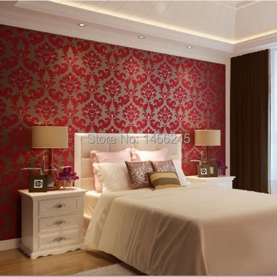 Romantic european velvet 3d background wallpaper red for Latest 3d wallpaper for bedroom