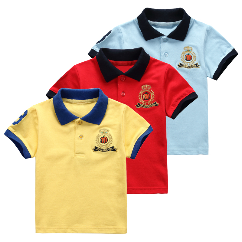 2016 summer children shirts pure cotton short-sleeve big boy polo shirt solid color breathable casual fashion kids tops wear(China (Mainland))