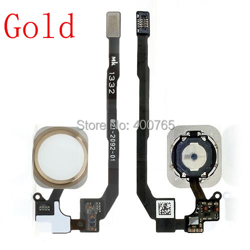 (05S505G)(1PC/Lot) Free Shipping 100% High Quality Guarantee Gold Touch ID Sensor Home Button Flex Cable Ribbon for iPhone 5S