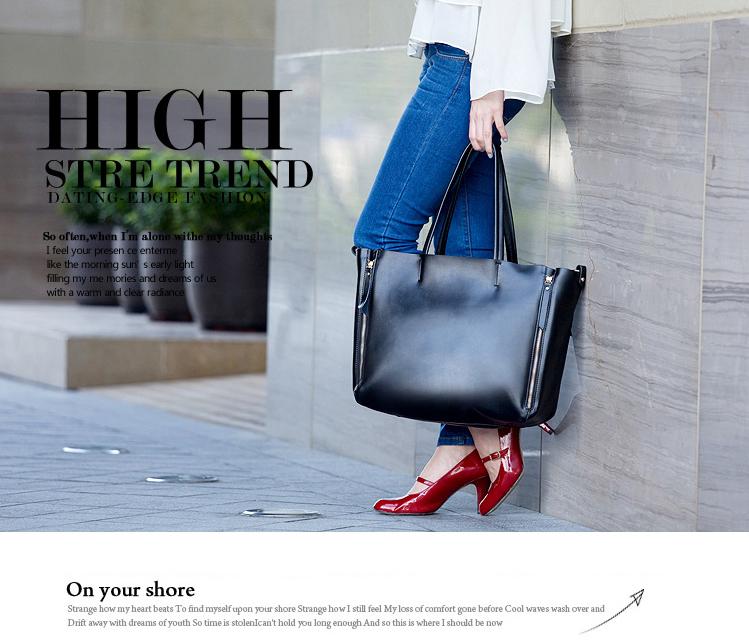 Fashion vintage shoulder bag brief womens genuine leather handbag cowhide big bag B393<br><br>Aliexpress
