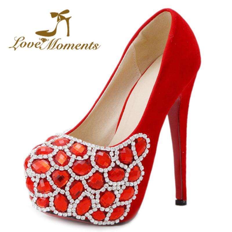 2016 New High-heeled Shoes red Woman Pumps Wedding Shoes Platform Fashion Women Shoes High Heels rhinestone crystal shoes(China (Mainland))