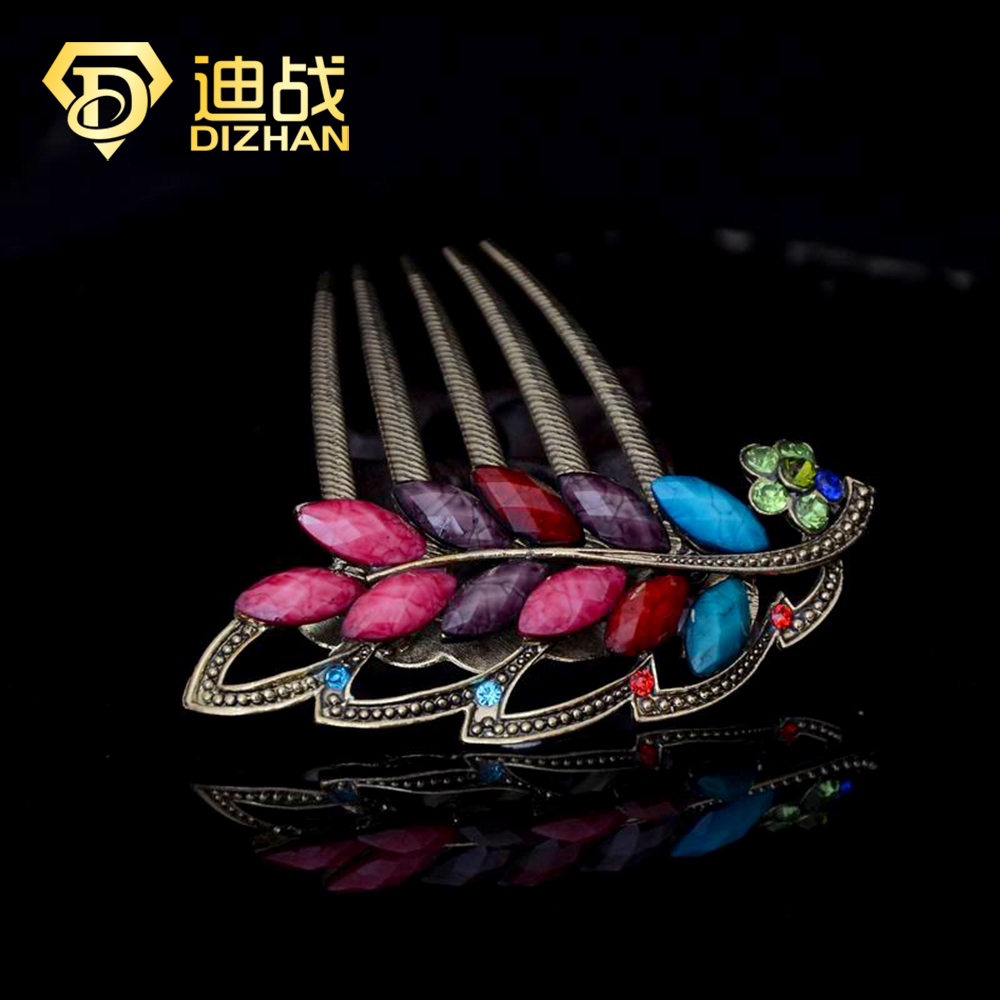 Vintage Rhinestone Crystal Beautiful Colorful Resin Leaf Hair Combs Hair Forks for women Hair Jewelry SF650(China (Mainland))