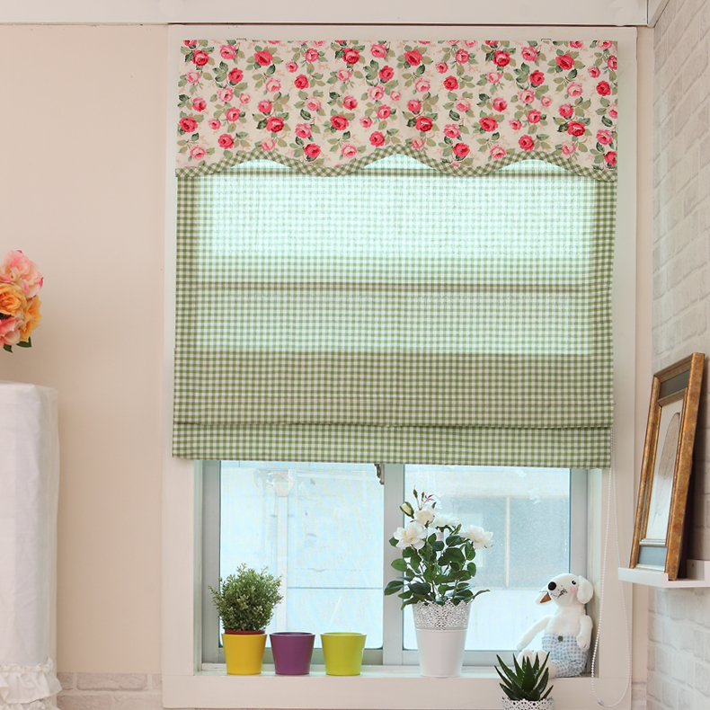 Rustic bay window plaid rose fabric roman curtain with - Tiradores infantiles leroy merlin ...