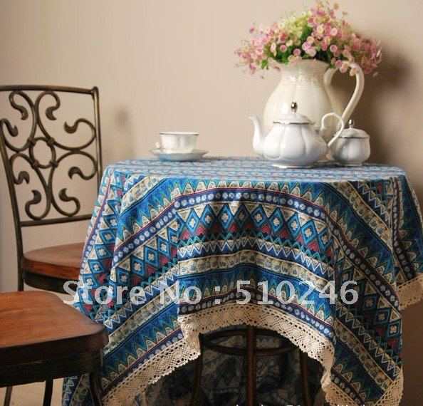 best selling 140*180cm linen cotton printed beautiful home decoration hometextile desk table linen table cover tablecloth(China (Mainland))