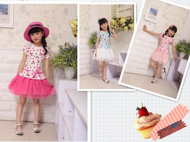 Free shipping New 2014 Summer Girl dress cotton Casual Dress Kids Princess dress sleeved strawberry pattern children clothing(China (Mainland))