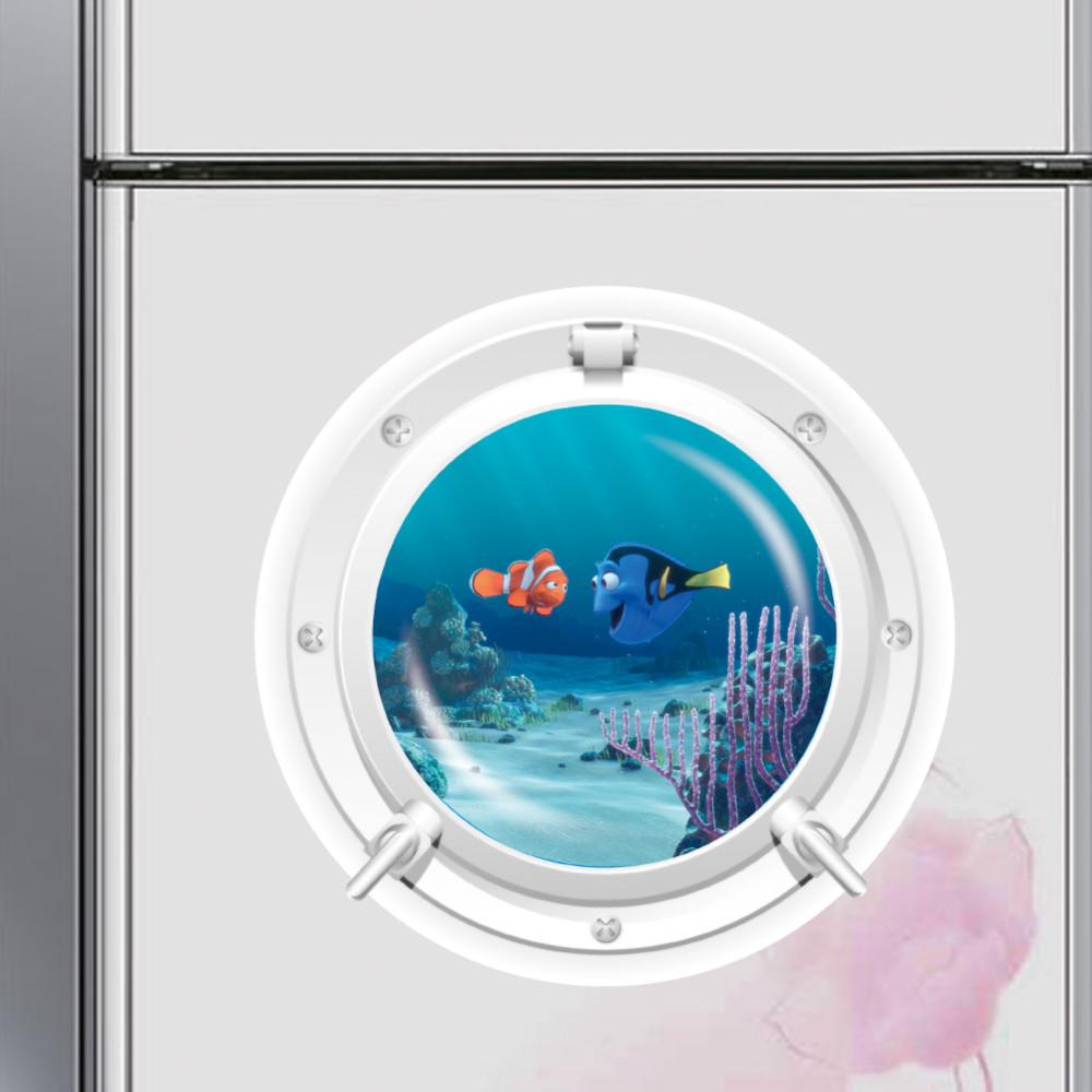 3d ocean view fish window window wall sticker for Bathroom decor stickers