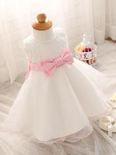 Elegant Girl Dress Girls 2016 Summer Fashion White Lace Big Bow Party Tulle Flower Princess Wedding