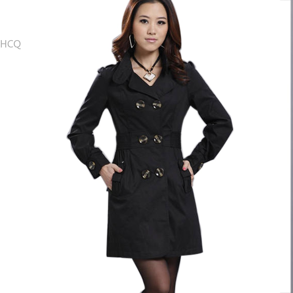 Trench Coat For Women 2016 Fashion Turn-down Collar Double Breasted solid Color Long Coats Plus Size Casaco Feminino With Belt(China (Mainland))