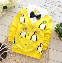 Baby T-Shirt Cartoon Penguin Baby Boys Suit Cotton Bow Tie Shirt Kids Tops Fashion Long-Sleeves Clothes