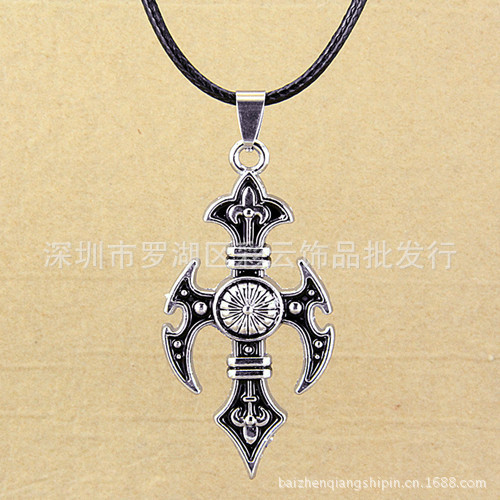 European and American trade popular Hot Cross series alloy necklace cross necklace cool handsome profiled statement(China (Mainland))