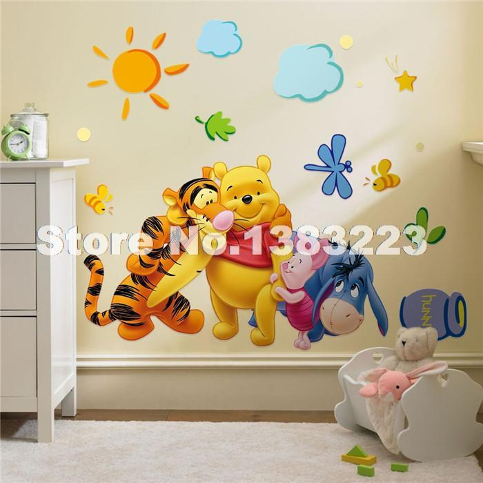 Baby Bear Cartoon DIY Wallpaper For Kids Rooms Sofa Bedroom house decoration Art Decals Design 3D Home Decor Vinyl Wall Stickers(China (Mainland))
