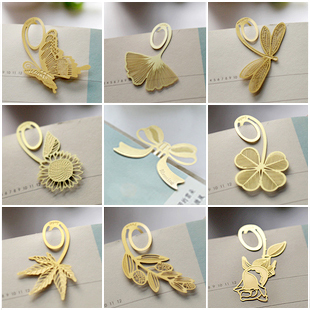 9 Pcs/Lot Free Shipping Golden Color Butterfly Dragonfly Sunflower Bowknot Maple Lucky Olive Leaf Rose Copper Bookmark Y001(China (Mainland))
