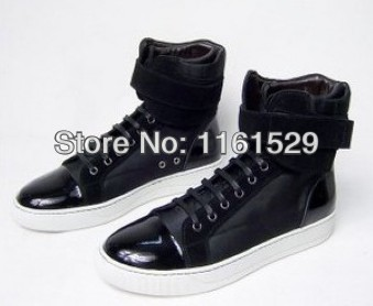 Limited Edition Black Suede Leather High top Sneakers French Brand Men Casual Shoes,Superior Quality men's Designer shoes(China (Mainland))
