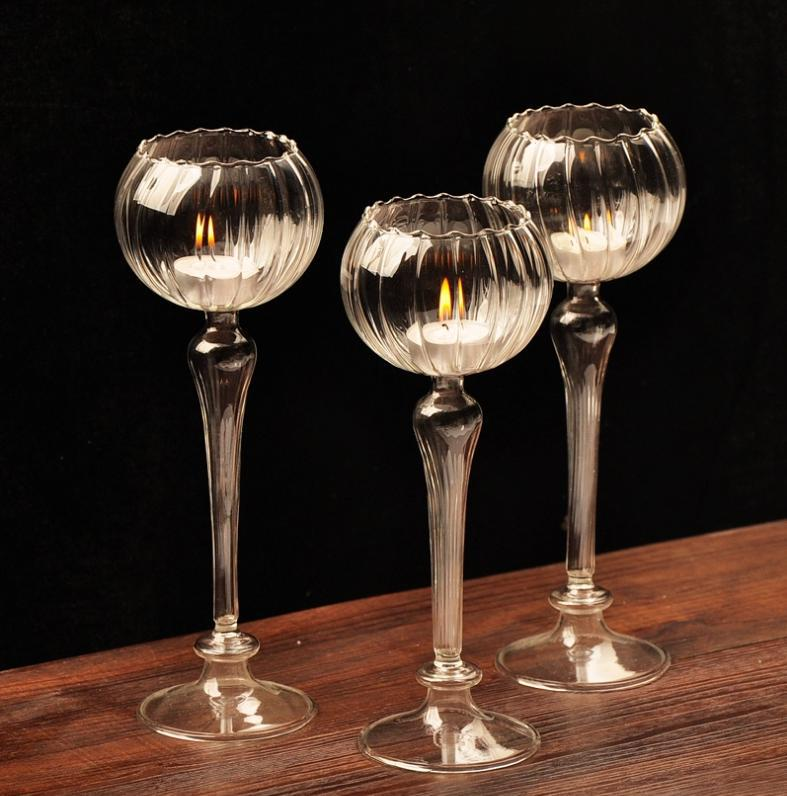 Crystal Glass Candlestick Weeding Home Decor Hang Candle