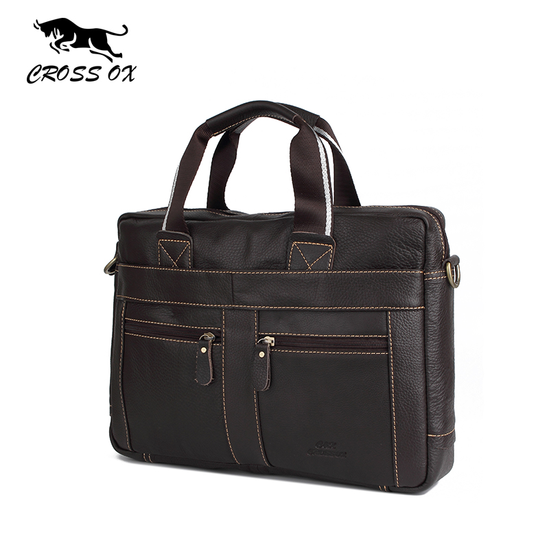 CROSS OX Genuine Leather Men Briefcase Man Bags Business Laptop Tote Bag Men's Crossbody Shoulder Bag Men's Travel Bags HB373M(China (Mainland))