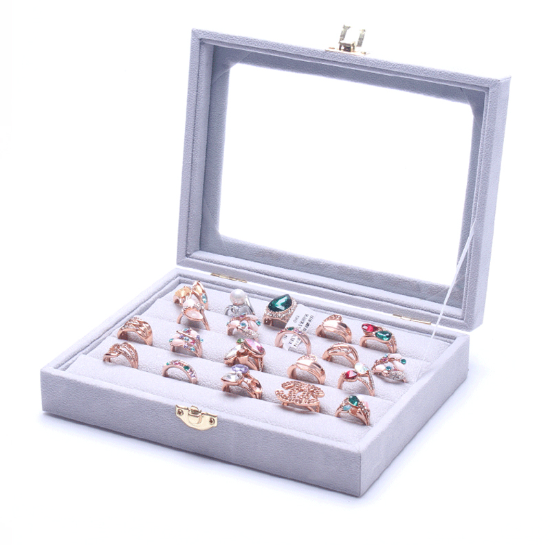 Professional Wood and Gray Velvet Jewelry Display Box Vitrine Ring Showed Tray Holder for Rings Showcase Organizer Box Wholesale(China (Mainland))