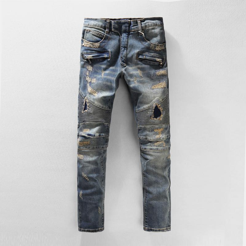 New Men Slim Fit Ripped Hole Jeans Fashion Scratched Denim Jeans Locomotive Pants Pleated Skinny Trousers Pencil Pants 29-38
