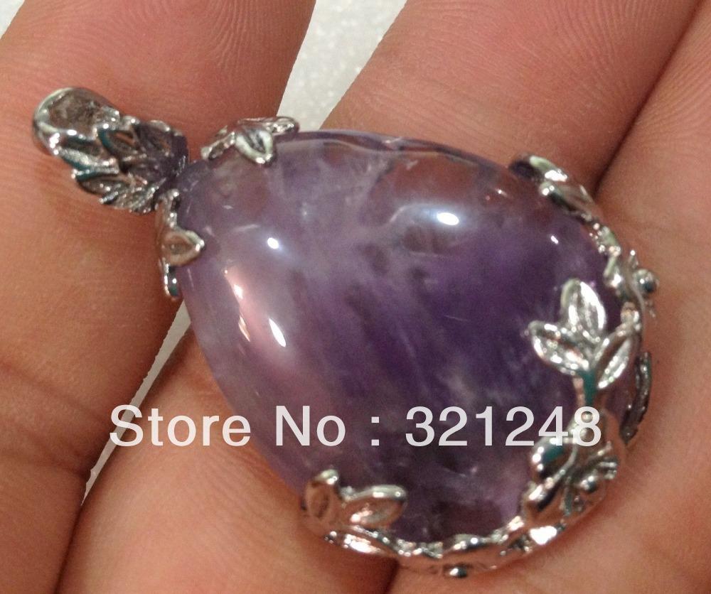 Free shopping new 2014 diy two pcs Natural Amethyst Crystal Bead Pendant 18KGP GE5226(China (Mainland))