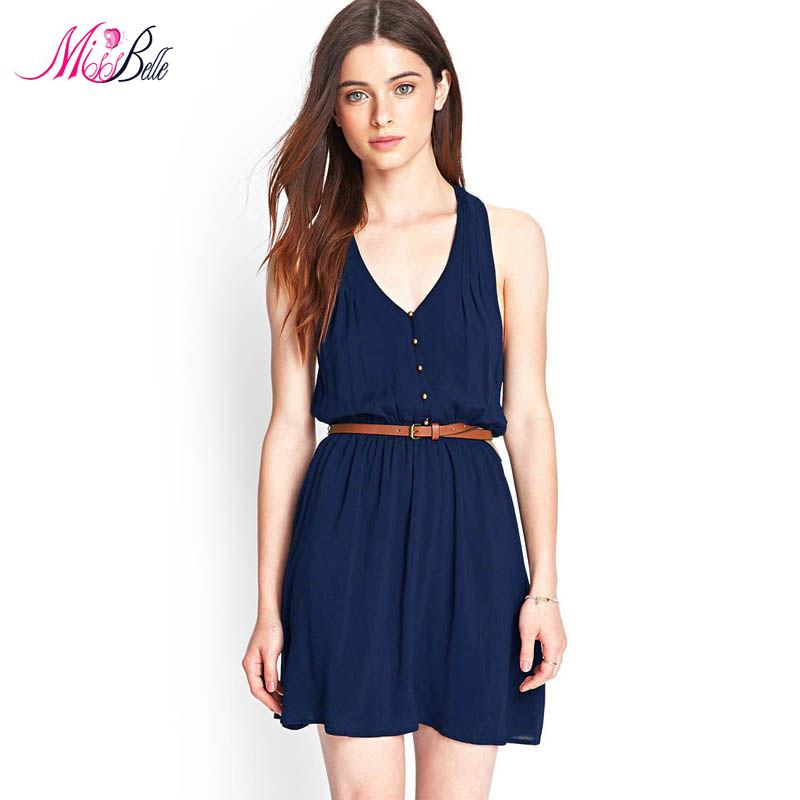 MISS BELLE Single Button Deep V Neck Women Summer Tank Dresses 2015 Fashion Casual Belted Slim Chiffon Dress Navy Blue Vestidos(China (Mainland))