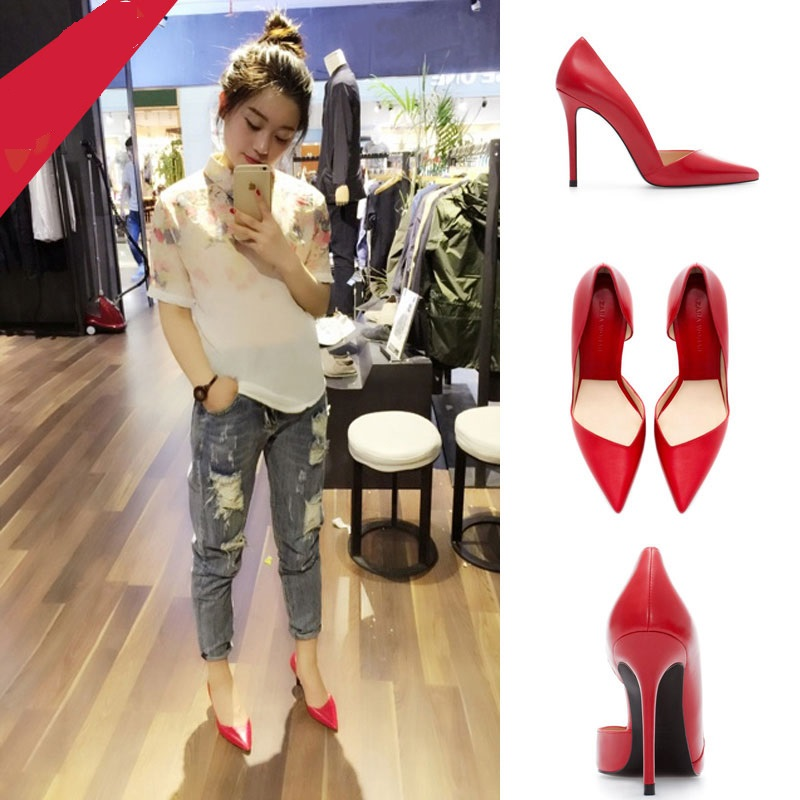 2015 new spring models pointed shoes with thin red wedding shoes sexy singles club shallow mouth
