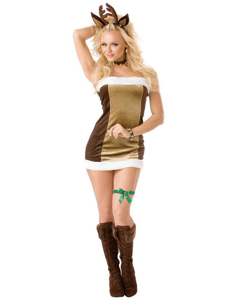 Sexy Women Santa Claus Christmas Costume Cosplay Lady Xmas Strapless Dress Outfit Fancy Dress(China (Mainland))