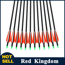 "2015 New Carbon Arrow 12pcs 30"" Archery Arrows Spine500 Changeable Arrowheads Plastic Feathers for Hunting Compound Bow Arrows(China (Mainland))"