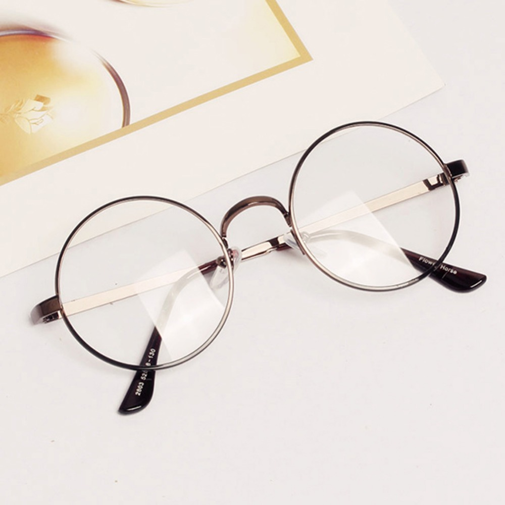 Women Men Retro Round Metal Frame Clear Lens Glasses Nerd ...