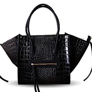 Crocodile Croco Shaded Tote Bag 2014 New European and American Hollywood Style Gossip Girl Fashion Smiley Leather Purse Handbag(China (Mainland))