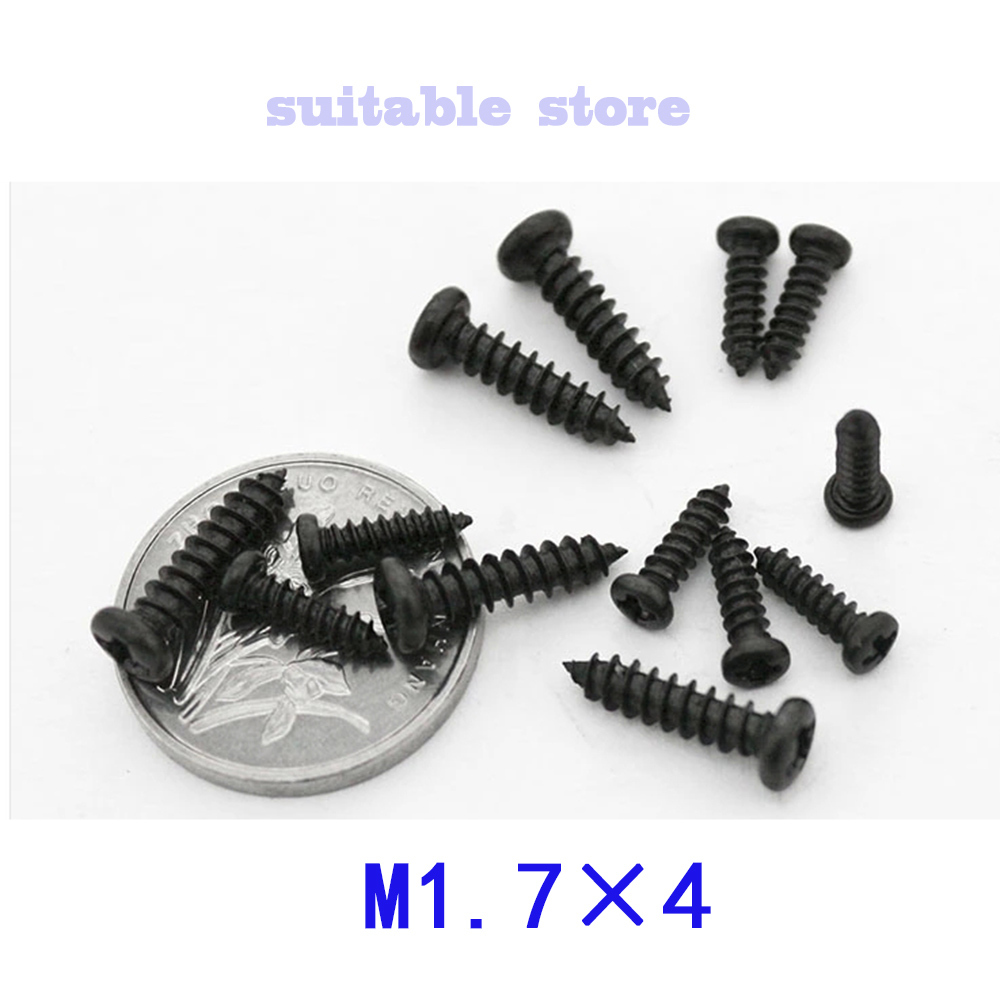 (2000PCS) PA M1.7*4  M1.7x4 The black zinc plated The micro cross round head pan head self-tapping screws/screw Electronic screw<br><br>Aliexpress
