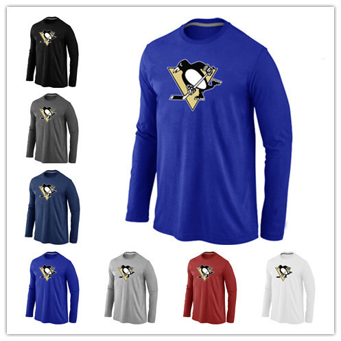 Cheap Pittsburgh Penguins Long Sleeve T Shirts Big&Tall Logo Fashion Penguins Tees Shirt Cotton O-Neck T-shirt(China (Mainland))
