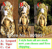 Free shipping 100% good Quality Winter cartoon plush leopard tiger cat hat with 3 in one Gloves and scarves cap(China (Mainland))