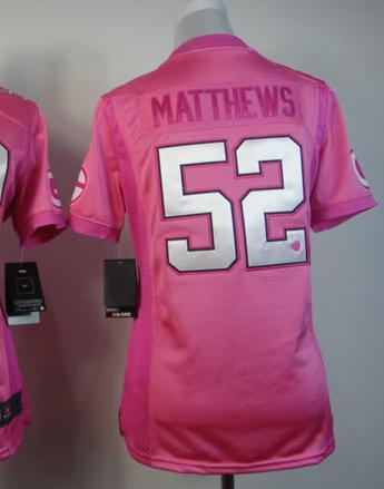 pink women matthews jersey football jerseys Packer #52, Stitched game High Quality Embroidery free shipping(China (Mainland))